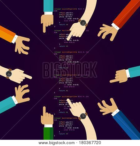 open source software coding programming development together. many hands working together. concept of teamwork collaboration and participation vector