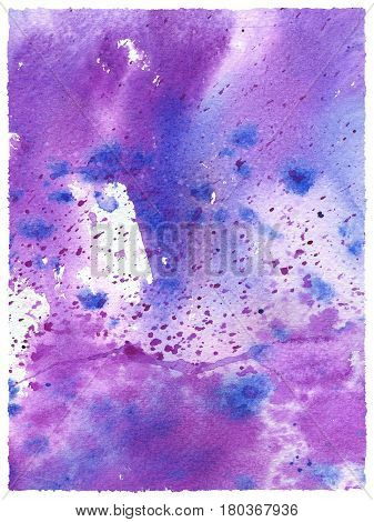 Hand drawn watercolor background. Abstract modern texture with watercolour splash. Art watercolor background on paper texture in light violet lilac blue colors