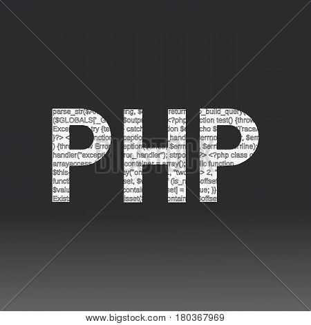 Php language sign. Vector illustration. Php programming language on a black background