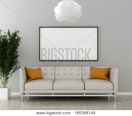 Blank picture frame on the wall in the living room. Interior plant with sofa and chandelier. 3D render