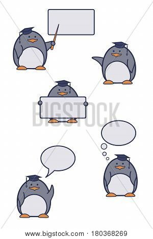 Set of icons with a penguin teacher. Penguins with boards and dialog bubbles.