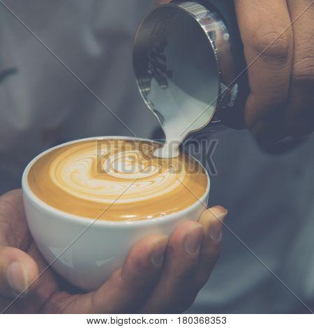 Barista Pouring Latte Froth Make Coffee Latte Art
