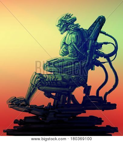 Cyborg pilot sits in suit on his iron throne. Science fiction illustration. Original character the alien astronaut in space body armour. Freehand digital drawing sketch.