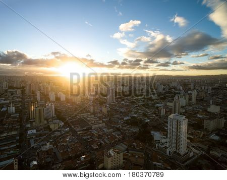 Sunset over Sao Paulo city in Brazil