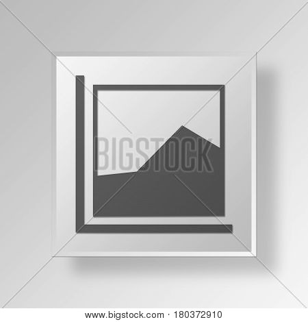 3D Square Data Gray Button Icon Concept