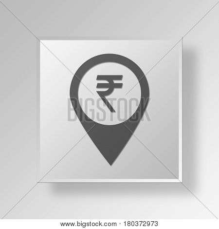 3D Square Data Gray Button Icon Concept