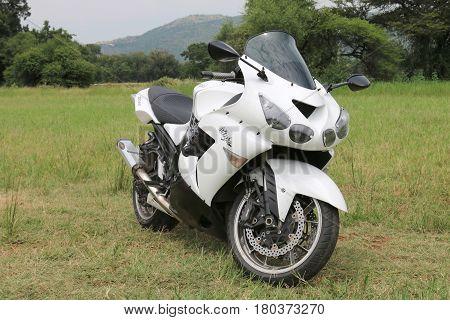 Parked Large Metal Green Kawasaki Zx14 / Ninja Zx-14 1441 Cc Motorbike
