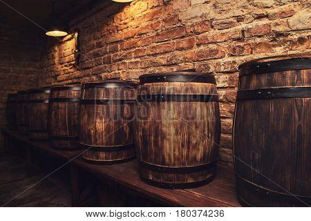 Homemade barrels in the wine cellar