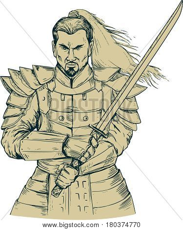 Drawing sketch style illustration of a Samurai warrior holding katana sword in a swordfight stance viewed from front set on isolated white background.