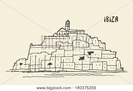 Sketch of Ibiza landscape vector illustration sea