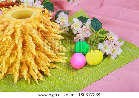 Homemade Traditional Easter Lithuanian Sakotis Cake Colored Eggs