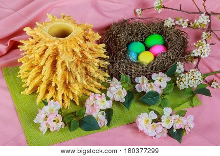 Traditional Lithuanian Cake On Skewer Easter Bread Decorated Eggs