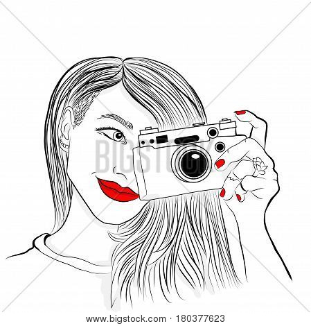 Monochrome vector illustration. Beautiful girl with red lips and nails. Smiling photographer old camera