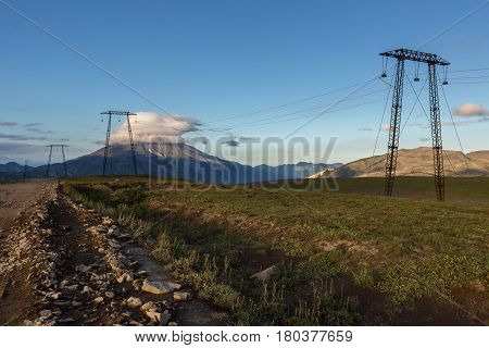 High-voltage transmission lines passing through the Viluchinsky pass