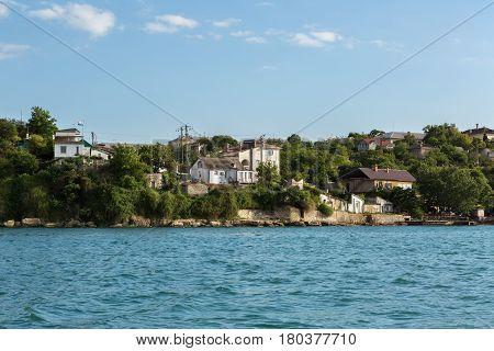 Sevastopol, Russia - June 09, 2016: Architecture on the coast of Crimea in the Sevastopol bay