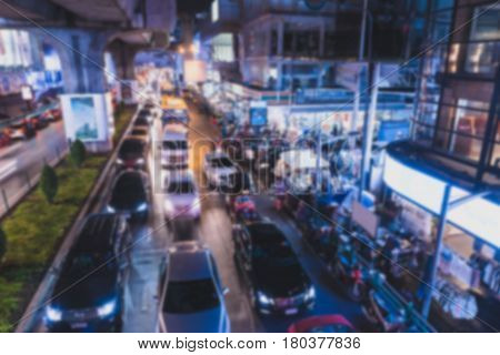 Blurred background . traffic at Siam Square. Bangkok Thailand