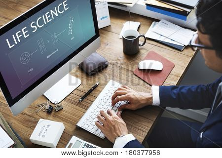 Man study biology humanity life science genetic research