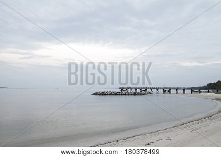Chesapeake Bay Dock Landscape and Sandy Beach