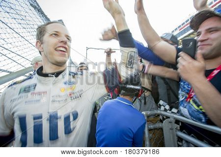 April 02, 2017 - Martinsville, Virginia , USA: Brad Keselowski (2) celebrates with fans after winning the STP 500 at Martinsville Speedway in Martinsville, Virginia .