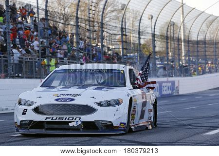 April 02, 2017 - Martinsville, Virginia , USA: Brad Keselowski (2) celebrates after winning the STP 500 at Martinsville Speedway in Martinsville, Virginia .