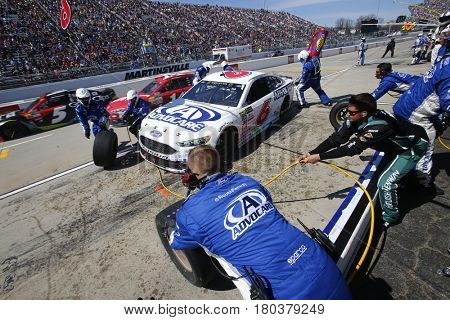 April 02, 2017 - Martinsville, Virginia , USA: Trevor Bayne (6) comes in for service during the STP 500 race at the Martinsville Speedway in Martinsville, Virginia .