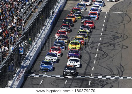 April 02, 2017 - Martinsville, Virginia, USA: Martin Truex Jr. (78) and Jimmie Johnson (48) lead the field down the front stretch during the STP 500 at Martinsville Speedway in Martinsville, Virginia.