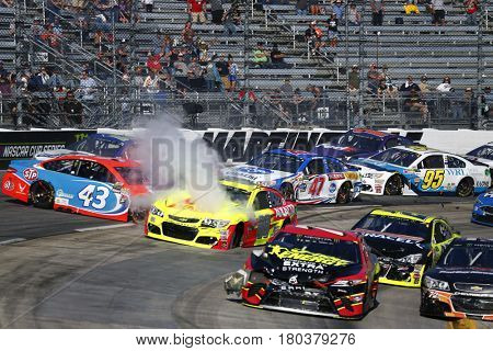 April 02, 2017 - Martinsville, Virginia, USA: Dale Earnhardt Jr. (88), Aric Almirola (43) and A.J. Allmendinger (47) wreck during the STP 500 at Martinsville Speedway in Martinsville, Virginia.