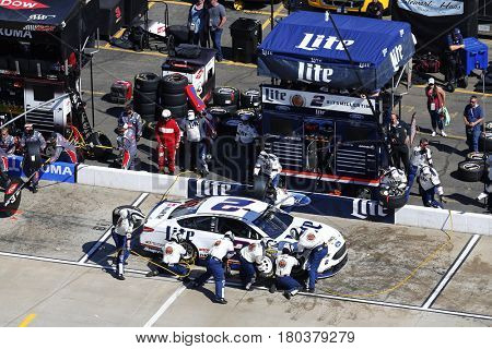 April 02, 2017 - Martinsville, Virginia, USA: Brad Keselowski (2) pits his Miller Lite Ford for service during the STP 500 at Martinsville Speedway in Martinsville, Virginia.
