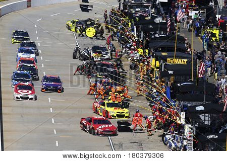 April 02, 2017 - Martinsville, Virginia, USA: The Monster Energy Cup Series comes down pit road during the STP 500 at Martinsville Speedway in Martinsville, Virginia.