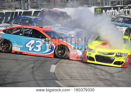 April 02, 2017 - Martinsville, Virginia, USA:  Aric Almirola (43) wrecks during the STP 500 race at the Martinsville Speedway in Martinsville, Virginia.