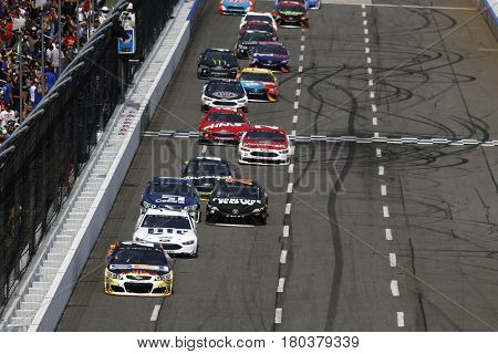 April 02, 2017 - Martinsville, Virginia, USA: Chase Elliott (24) leads a pack of cars during the STP 500 at Martinsville Speedway in Martinsville, Virginia.