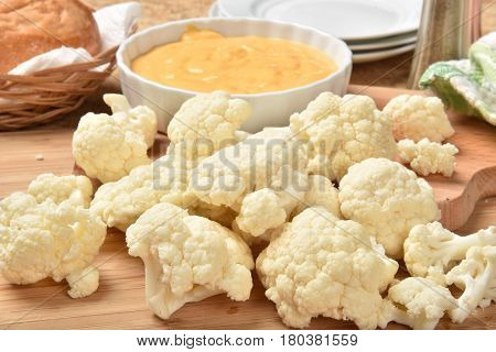 Cauliflower With Cheese Dip