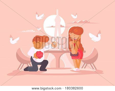Young guy proposes to marry girlfriend kneeling. Vector flat illustration