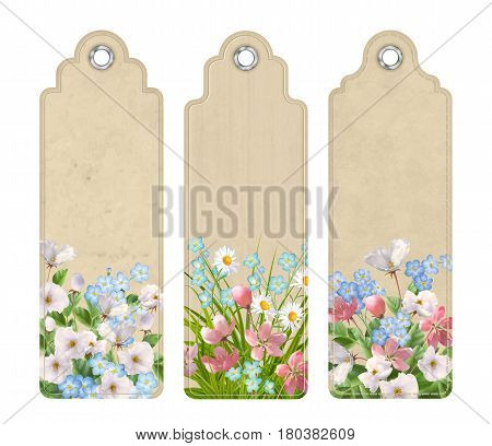 Set of decorative tags or bookmarks with a variety of spring or summer flowers. Floral vector banners