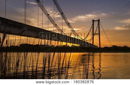 Putrajaya, Malaysia - Circa August 2016 - Monorail suspension bridge in Putrajaya, Malaysia during sunset