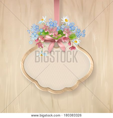 Vector holiday illustration of floral signboard with a variety of wildflowers holiday wooden frame