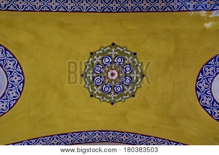 Ancient ceiling ornament at Grand Bazaar Istanbul horizontal view