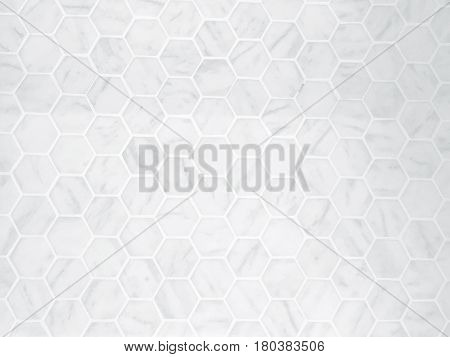 Background Pattern White Hexagon Marble Tile Background or Texture with Copy Space for Text Decorated.