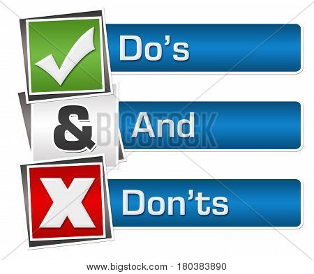 Dos and donts text written over red green blue background.