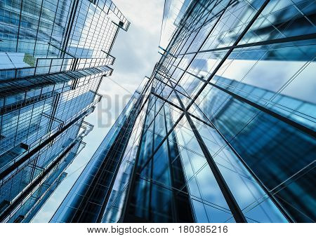 3d rendering highrise office building with glass windows