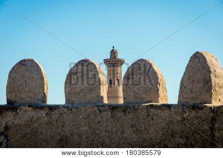 Old City Wall And Minaret, Khiva, Uzbekistan