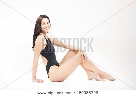 One Young Woman Swimsuit, White Background