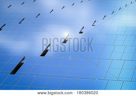 3d rendering blue solar panel in a row or solar panel background