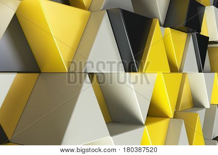 Pattern Of Black, White And Yellow Triangle Prisms