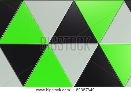 Pattern Of Black, White And Green Triangle Prisms