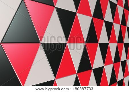 Pattern Of Black, White And Red Triangle Prisms