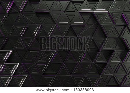 Pattern Of Black Triangle Prisms With Violet Glowing Lines