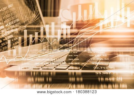 Business man on digital stock market financial indicator background. Digital business and stock market financial indicator on LED. Double exposure of business man and digital stock market financial.
