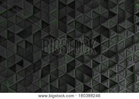 Pattern Of Grey Triangle Prisms With Green Glowing Lines