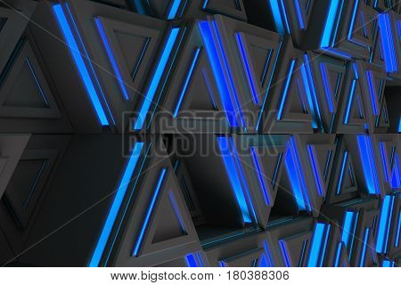 Pattern Of Grey Triangle Prisms With Blue Glowing Lines